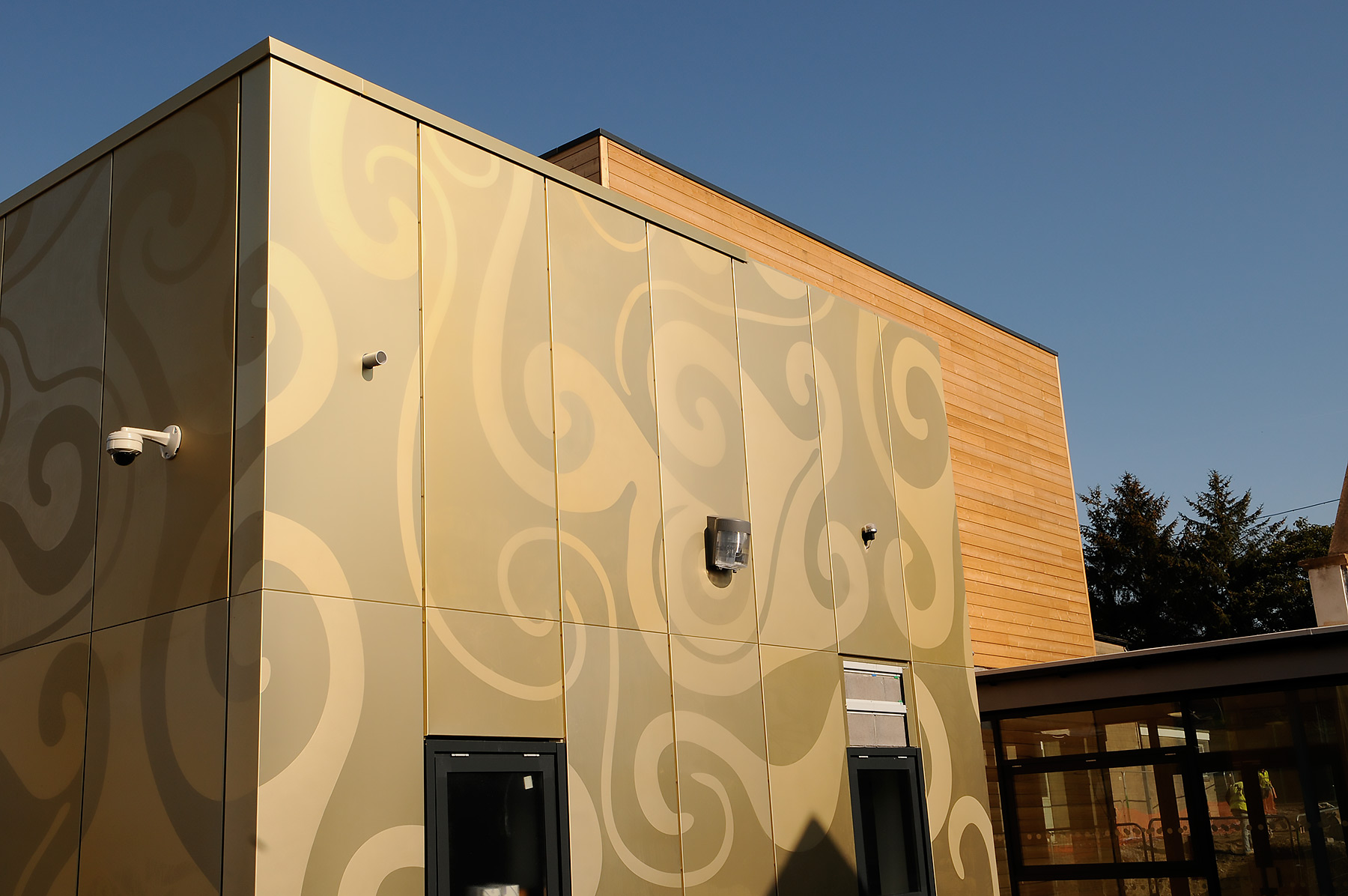 Etched anodised aluminium, school in Wales.